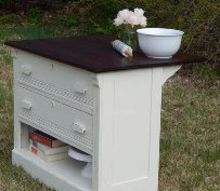 antique dresser turned kitchen island, kitchen design, painted furniture, repurposing upcycling