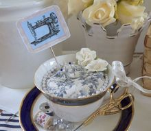 teacup pincushion diy gift for mom, crafts, how to, repurposing upcycling