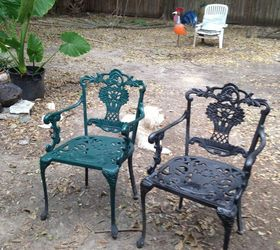 these are the chairs that i spray painted but now i really like the original silver color what would i put on for protection - Wrought Iron Patio Set