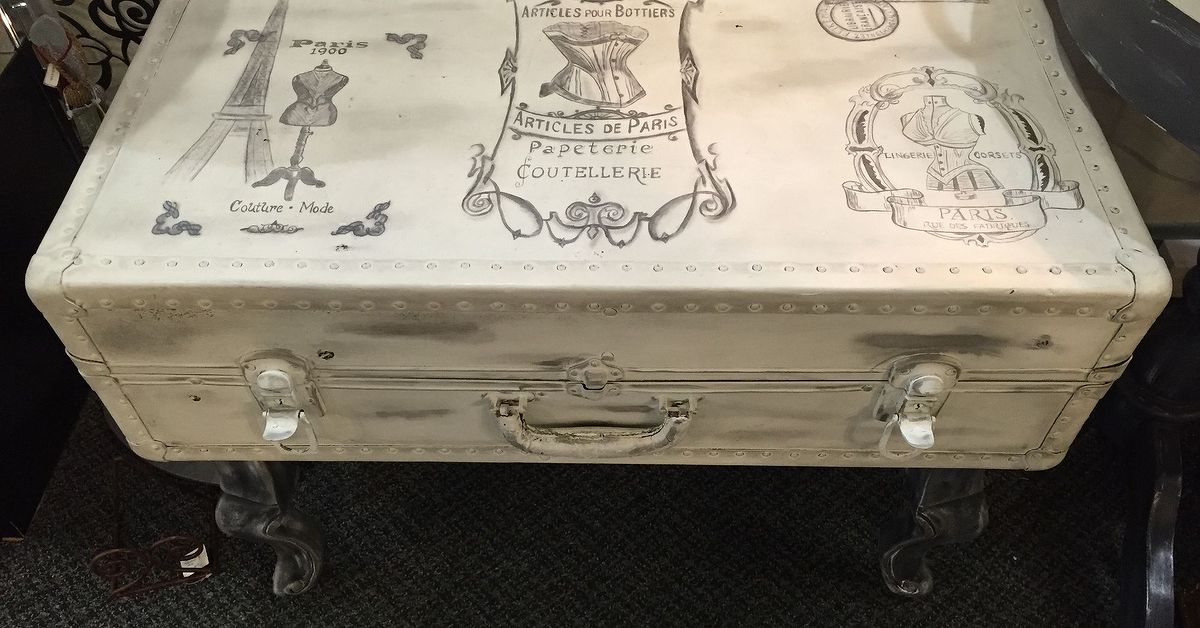 Old moldy luggage turned b e a french inspired for Table camping valise