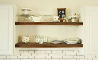 rustic open shelving for free my how to , kitchen design, rustic furniture, shelving ideas