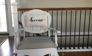 chair makeover with a home pillow, dining room ideas, painted furniture, reupholster