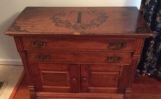 hand stained custom monogram design on cupboard, diy, living room ideas, painted furniture, woodworking projects