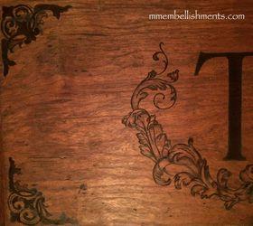 Hand Stained Custom Monogram Design On Cupboard, Diy, Living Room Ideas,  Painted Furniture