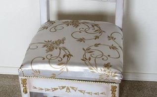 road side chair turns in to a princess chair with plaster stencils, bedroom ideas, diy, painted furniture