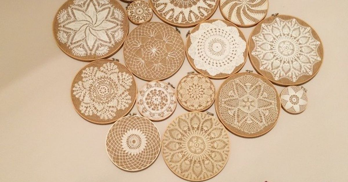 Crochet Vintage Doilies on Embroidery Hoops Wall Collage | Hometalk