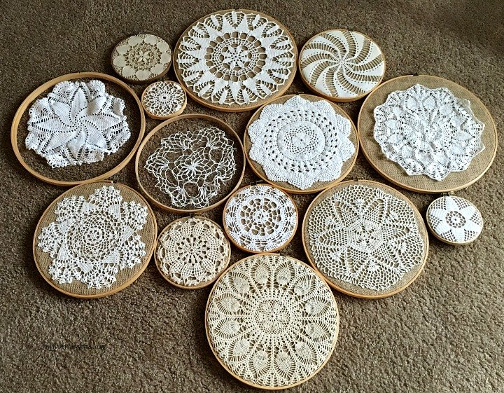 Crochet vintage doilies on embroidery hoops wall collage
