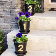 easily turn basic plant pots into stunning house number flower pots, container gardening, crafts, curb appeal, gardening