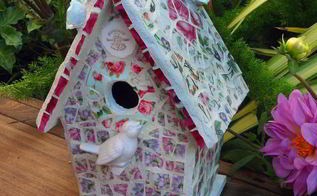 broken china mosaic birdhouse, crafts, gardening, repurposing upcycling