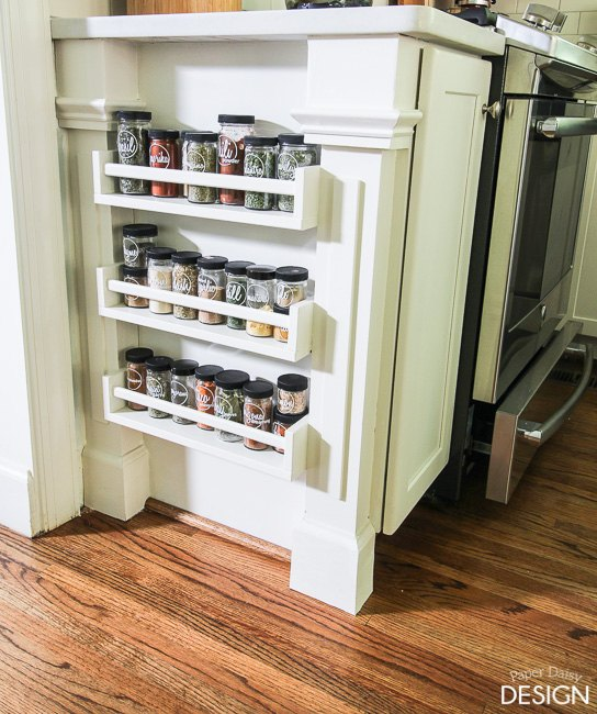 Easy built in spice rack bekvam ikea hack hometalk for Hacker kitchen designs