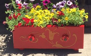 abandoned drawer into a gorgeous flower planter using a stencil, container gardening, gardening, repurposing upcycling, I couldn t be happier The finished result
