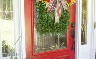 easy diy boxwood patriotic wreath, crafts, patriotic decor ideas, seasonal holiday decor, wreaths
