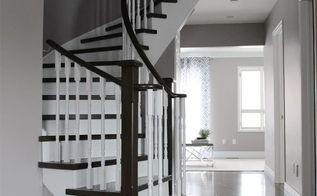 curved staircase remodel before afte, home improvement, stairs