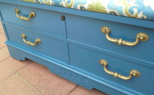 bermudan blue cedar chest makeover, painted furniture, reupholster