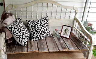 diy upcycled rustic bedhead bench, chalk paint, outdoor furniture, painted furniture, repurposing upcycling, rustic furniture