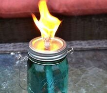 mason jar citronella torches, crafts, mason jars, pest control, repurposing upcycling