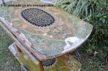 paper mosaic, how to, painted furniture, repurposing upcycling, shabby chic