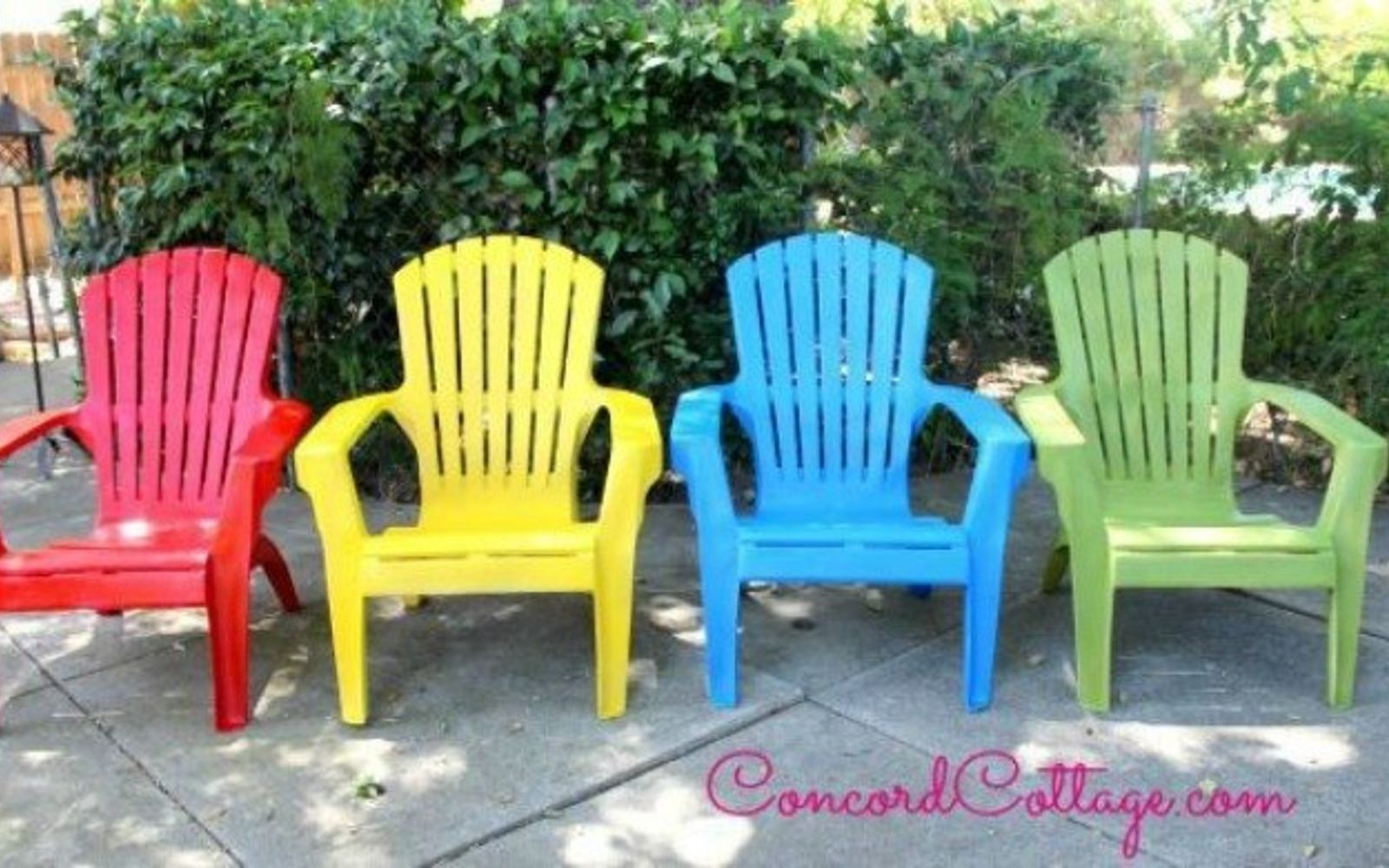 s 12 pool chair ideas we never would have thought of, painted furniture, pool designs, Stick to bright hues for a sunny pop