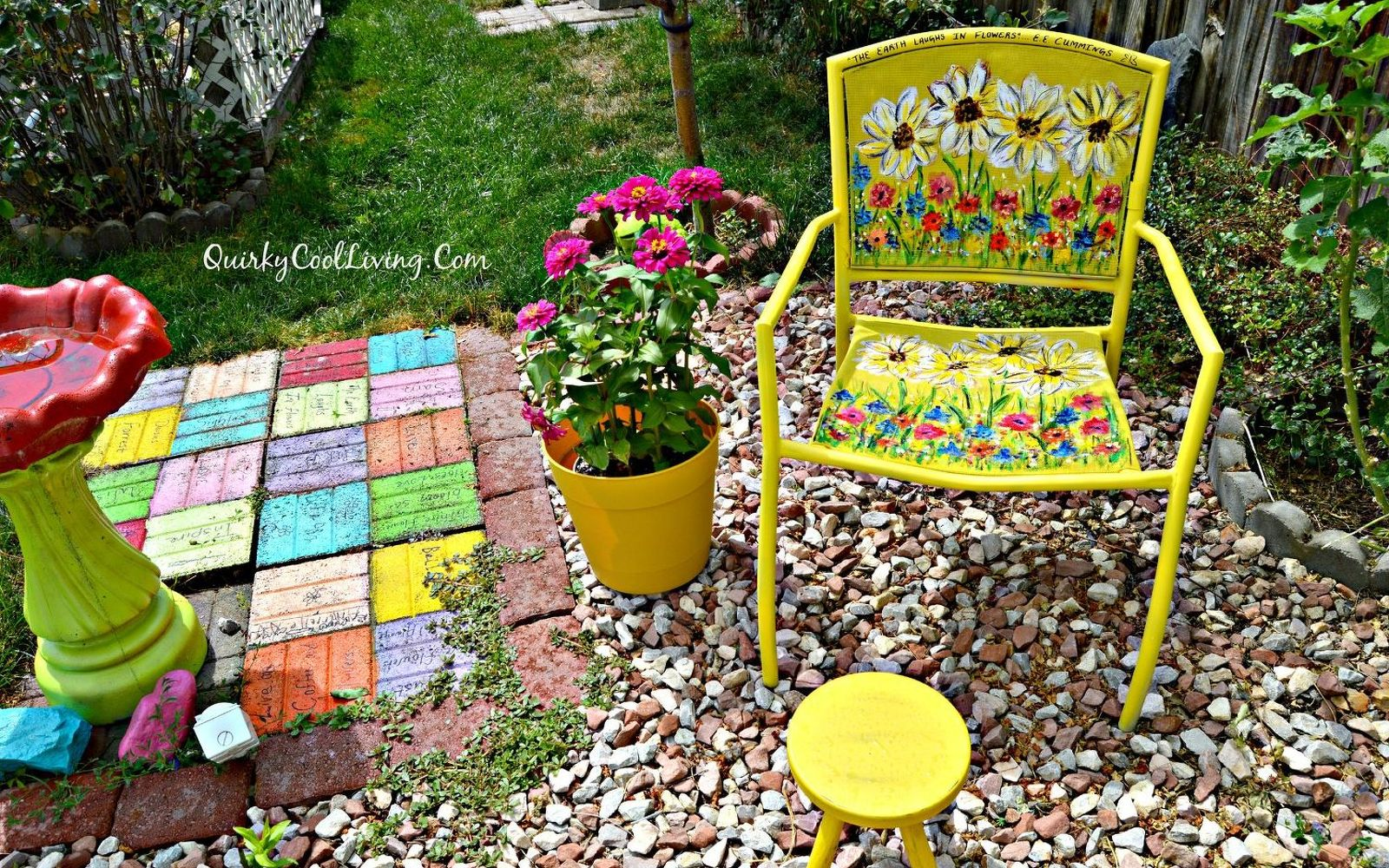 s 12 pool chair ideas we never would have thought of, painted furniture, pool designs, Paint a drab chair into floral masterpiece