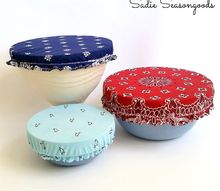 patriotic bandana bowl covers, crafts, how to, patriotic decor ideas, repurposing upcycling, seasonal holiday decor