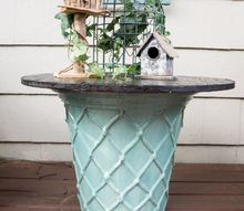 repurposed electric spool table, diy, outdoor furniture, painted furniture, repurposing upcycling
