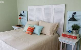 garage sales shutters turned headboard , bedroom ideas, repurposing upcycling, window treatments