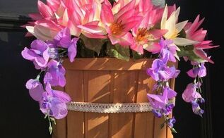 spring flower door hanger diy for cheap , crafts, doors, flowers, gardening