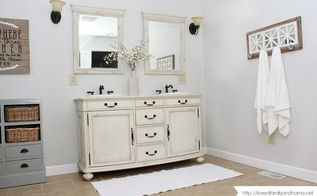 farmhouse style master bathroom makeover, bathroom ideas, painting, rustic furniture