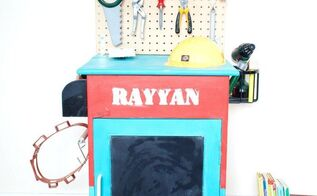 upcycled cabinet into a kids tool becnch, painted furniture, repurposing upcycling, tools