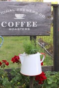 raised coffee pot planters for the junk garden, container gardening, crafts, flowers, gardening, repurposing upcycling