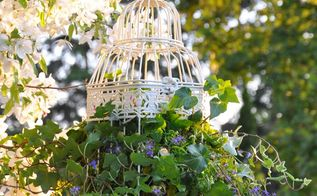 an ivy filled birdcage for part shade, container gardening, crafts
