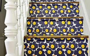 marimekko stair transformation, home improvement, stairs