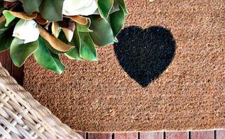 diy heart front door mat, crafts, doors, reupholster