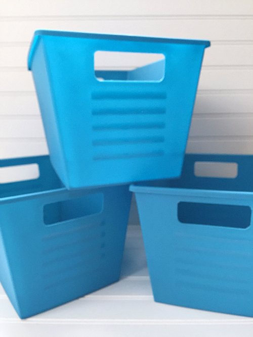 Plastic Dollar Store Bins Turned Faux Metal Storage Hometalk