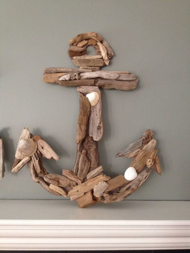 Driftwood anchor whale and initial hometalk for Driftwood crafts