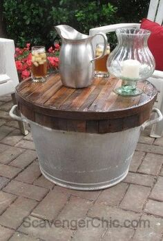 butcher block wash tub table, outdoor furniture, repurposing upcycling, woodworking projects