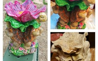 save those old dingy yard ornaments with unicorn spit , crafts, gardening, Turtle mini bird bath