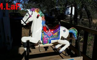 vintage hobby horse, outdoor furniture, painting