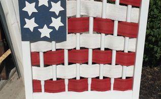 folk art flag, crafts, patriotic decor ideas, seasonal holiday decor