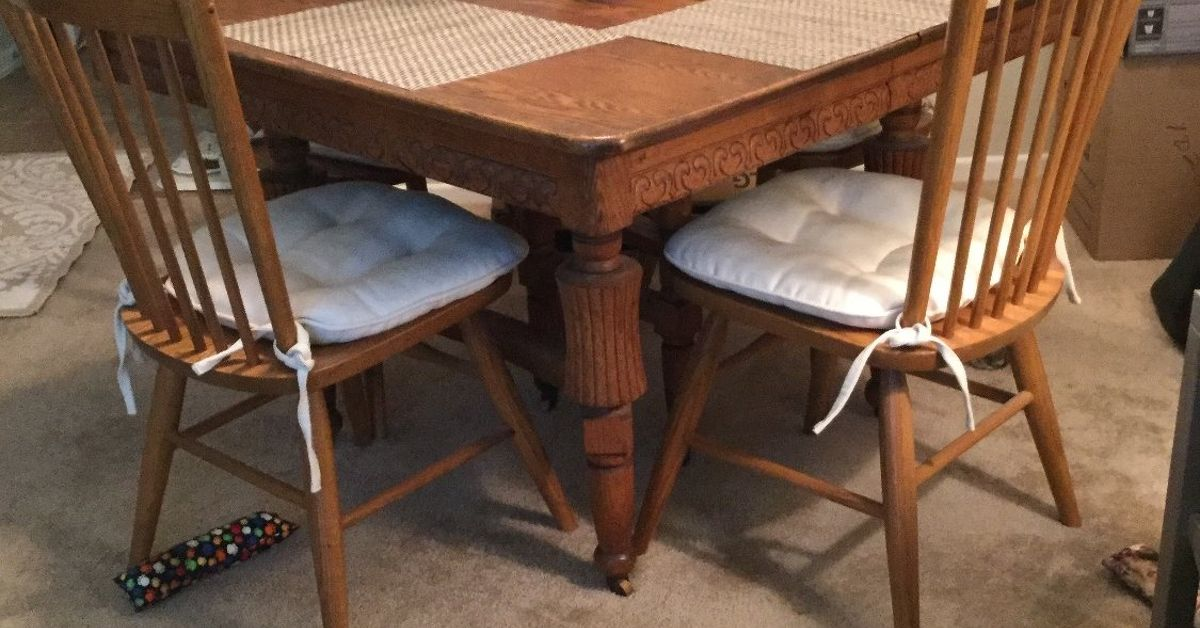 need to update an old oak dining table | hometalk