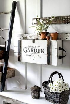 the cutest little garden themed crate with a top secret mission , gardening, painted furniture, repurposing upcycling