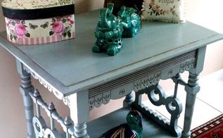 antique end table side table before after, painted furniture
