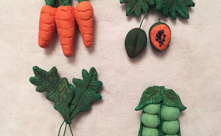 polymer clay veggie fruit magnets, crafts, how to