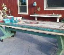 ron s custom table from scrap wood, chalk paint, outdoor living, painted furniture