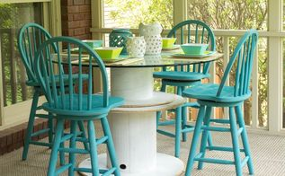 diy wire spool table, diy, how to, outdoor furniture, painted furniture, repurposing upcycling, woodworking projects