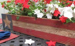 patriotic pallet wood centerpiece, outdoor living, pallet, patriotic decor ideas, repurposing upcycling, seasonal holiday decor