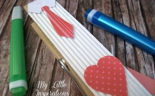 diy father s day peg paperweight, crafts, seasonal holiday decor, Red cardboard with tiny hearts for the heart