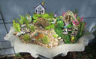 creating a fairy garden out of a old cement flower urn , concrete masonry, crafts, gardening