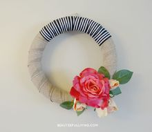 modern rose bloom wreath, crafts, how to