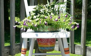 plain old chair until a little mexican inspiration hits , container gardening, gardening, how to, painting, repurposing upcycling, woodworking projects